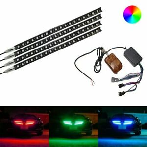 "4-Strip 12"" 7-Color RGB 72-LED Knight Night Rider Scanner Lighting Bars w/Remote"