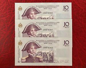 3 Pieces Haiti 10 Gourdes 2016 ** UNC **
