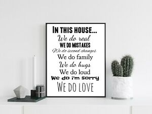 Family House Rules Word Art Typography Wall Quote Print Poster Home Decor Gift