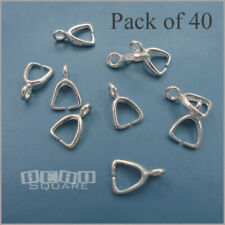 40 PC Sterling Silver Pendant Earring Pinch Bail Clasp Connector ap. 8mm #33459