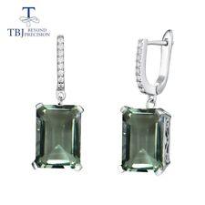 Natural green amethyst earrings 15 ct gemstone 925 sterling silver fine jewelry