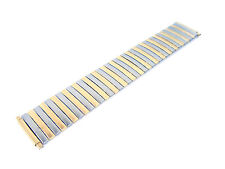 Wide Stretch Expansion Two-Tone Steel Metal Watchband 21-26 Millimeters