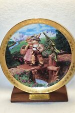 Hummel Plate 23K Trim (On Our Way) 10 Inches Danbury Mint With Wood Stand