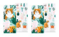 Celebrate Spring Together Kitchen Dish Towels GARDEN CAT 4-Piece Set NEW