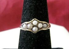 VINTAGE 10K YELLOW GOLD SEED PEARL RING SIZE 6.5