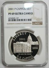 2001 P US Capitol Silver Proof Dollar Coin Certified NGC PF69 Ultra Cameo $1 US