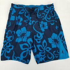 Speedo Hawaiian Floral Print Swim Trunks Navy Blue XL