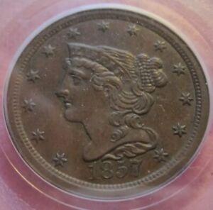 1857 half cent PCGS 58 KEY!