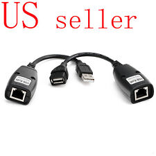 150FT USB 2.0 Male to Female Cat 5e 6e RJ45 LAN Extender Extension Adapter Cable