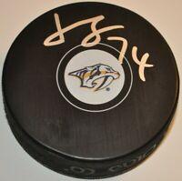 Juuse Saros 2016-2020 Nashville Predators Signed Autographed NHL Hockey Puck COA