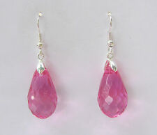 FACETED HOT PINK ACRYLIC CRYSTAL BRIOLETTE TEARDROP SILVER PLATED DROP EARRINGS