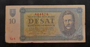 Slovakia 10 Korun 1943 rare serie , good condition, weak paper.