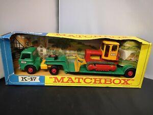 P793-MATCHBOX KING SIZE K-17 LOW LOADER WITH BULLDOZER IN ORIGINAL BOX