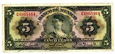 "Mexico ... 34a ... 5 Pesos ... 22-Sep-1937 ... CH*VF-XF*. Serie ""M""."