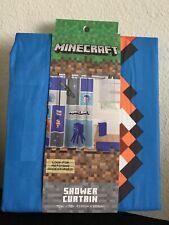 Minecraft Fabric Shower Curtain kids bath 72x72 polyester new