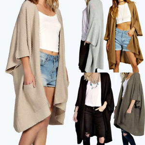 New Ladies Oversized Baggy Ribbed Cape Cardigan Open Front Chunky Knitted Jumper