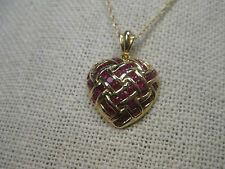 """14kt Solid Yellow Gold Ruby Woven Heart Necklace, 18"""", 4.22 gr."""