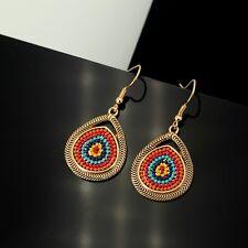 Ohrringe golden Tropf mini Perle mehrfarbig blau Orange Koralle DD11
