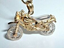 14K GOLD 3D MOVEABLE MOTORCYCLE DIRT BIKE PENDANT CHARM