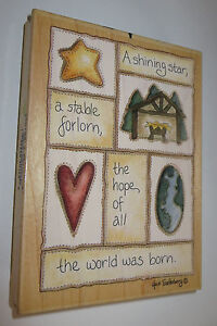 """Shining Star Stable Forlorn Rubber Stamp Hope World Was Born Manger Large 5.5"""""""