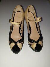 Topshop Shoes - Black, Beige & Gold Platform Peep Toe Heels - Sz 4 / 37