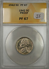 1942 Proof Jefferson Monticello Nickel 5C Coin ANACS PF-67 (JS)