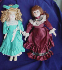 """2 porcelain dolls blond and brunette 16 1/2"""" high Victorian outfits Unbranded"""