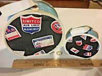 """Vintage United Airlines Vogue Doll Suitcase Set Lot 2 - 7.5'"""" & 4.75"""" SKU025-020"""