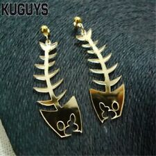Acrylic Gold Fish Bone Statement Cats Meow Earrings