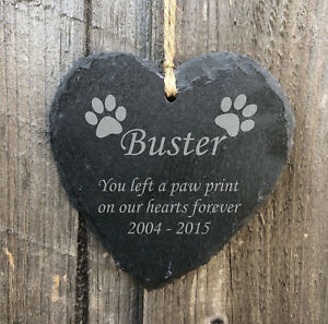 Personalised Hanging Heart Slate Pet Memorial Plaque Grave Marker Dog Paw Print