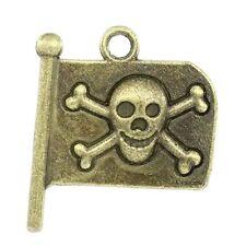 6 Pcs Charms Pendants Halloween&Gothic Skull Flag Antique Bronze 21x19mm LC2301
