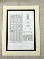 1857 Architectural Engraving Rouen Cathedral France Carved Door Antique Print
