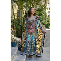 Winlar Multi Color Jungle Print Long Kaftan One Size Fits Most Polyester