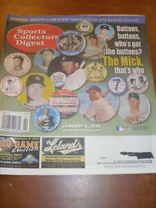 January 2010 Sports Collector's Digest - Mickey Mantle NY Yankees HOF Slugger