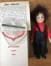 "Vintage Amish Knickerbocker 5"" Boy Doll Red with stand, box and printed material"