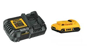 DEWALT 20V MAX Lithium-Ion Compact 2 Ah Battery & Charger Pack DCB203 & DCB1106