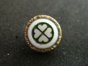 Antique Charmstring Waistcoat Button w White Glass in Brass w HEART Design