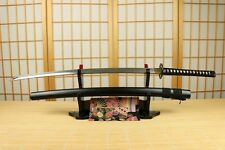 JAPANESE H.C FOLDED STEEL HANDMADE MUSASHI SAMURAI SWORD KATANA SHARP BLACK