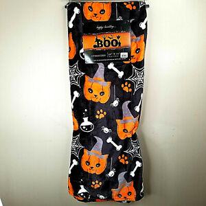 Halloween Boo Blanket Cat Pumpkin Bones Spiders Webs Plush Throw Oversized Soft