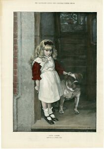 ANTIQUE 1893 COLOURED ENGRAVING ART PRINT GIRL AND BULLDOG Artist G A STORE b210