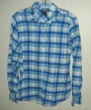 Lands End Women's Cotton Blue Plaid Flannel Shirt Size 12