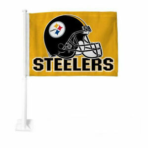 NFL Pittsburgh Steelers Car Flag, Double Sided, UV Fade Resistant