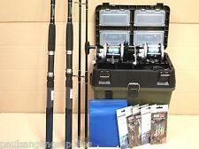 2  Rod /  Reel Sea Fishing  Boat Kit Seat & Tackle Box Tackle Rigs set Okuma