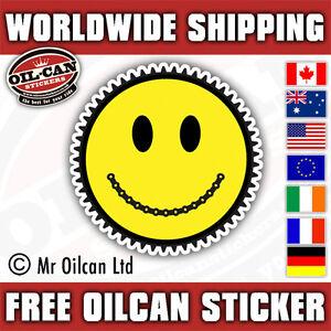 Smiley Face Gear head mountain bike MTB sticker 85mm diameter