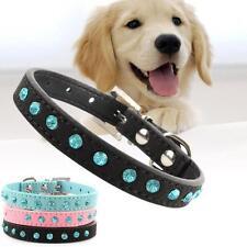 Réglable en cuir strass PU Puppy Diamante cristal collier de chien Colliers EH