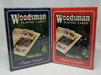 Woodsman Playing Cards Plastic Coated Poker Size New Sealed Red & Blue 2 Decks