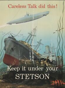 """""""Keep it under your Stetson"""" World War Two NEW Metal Sign: German U-Boat"""