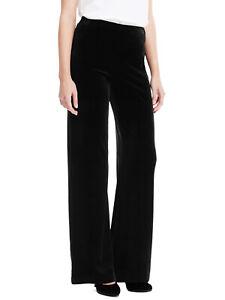 Fab new M & S marks & Spencer straight leg black velour trouser regular length