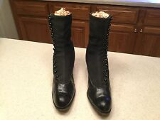 Vintage Ladies Black Leather High Top Button Shoes Very Cute