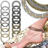 1 Dreifachkette Armband Fußkettchen Damen Edelstahl Kette Arm Mehrfach Ø 3 - 4mm